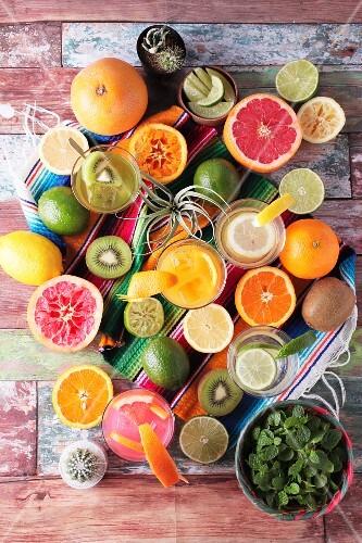 Various margaritas and fresh fruit