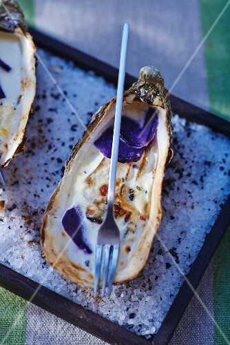 Gratinated oysters with purple potatoes