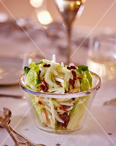 Apple and celery salad with nuts for Christmas