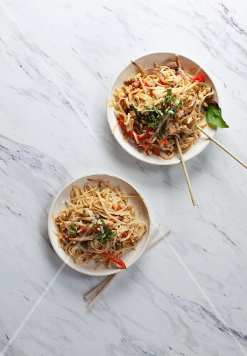 Fried noodles with chicken and pepper (Asia)