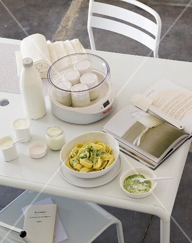 Homemade yoghurt and tagliatelle with pesto