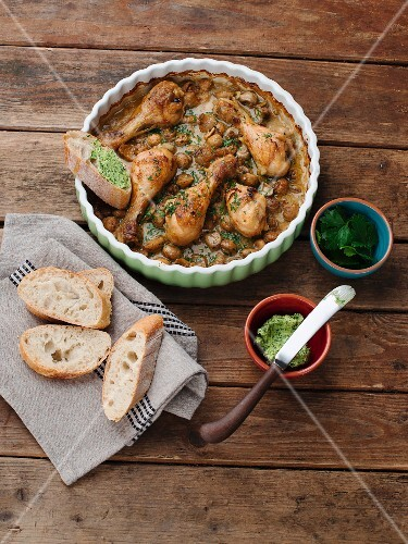 Chicken legs in a creamy mushroom sauce with parsley