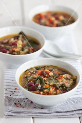 Vegetable soup with potatoes and beans