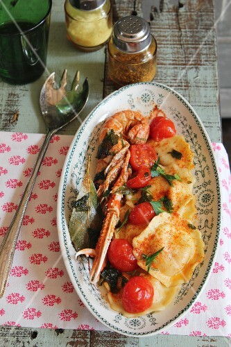 Ravioli with scampi and cherry tomatoes