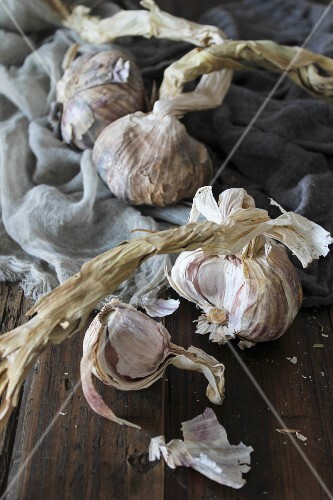Dried garlic on a wooden surface