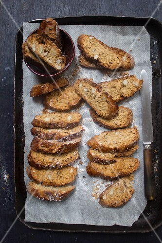 Almond biscotti on a baking tray