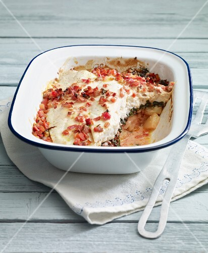 Baked plaice fillets with potatoes and chard