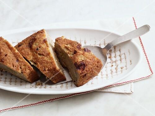 Eggless potato and gooseberry cake