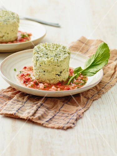 Herb flans with a radish vinaigrette