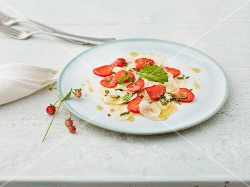 May turnip and strawberry carpaccio