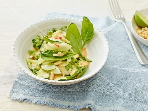 Cucumber salad with spring spinach