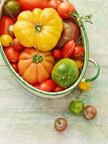 Various types of tomatoes in an oval dish