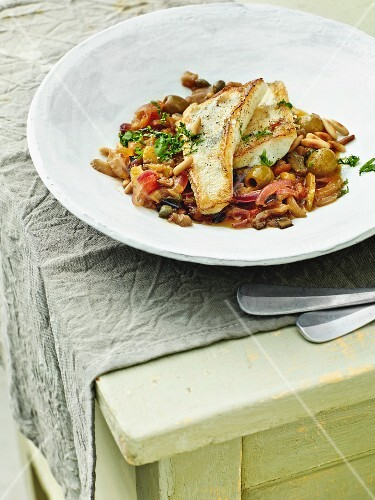 Caponata with fried fish