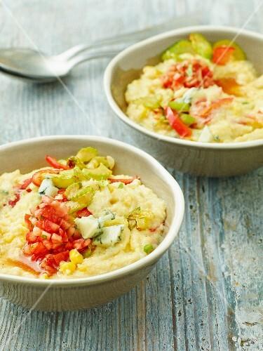 Vegetable polenta with gorgonzola