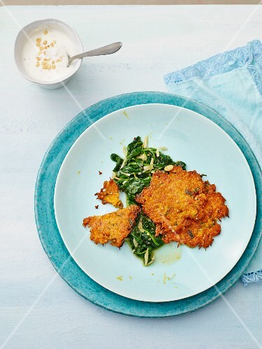 Carrot fritters with chard and nut yoghurt