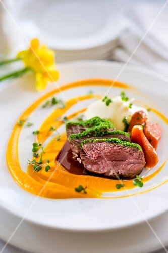 Lamb fillet and carrot puree