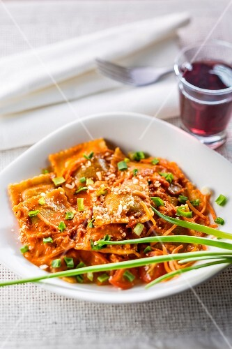 Ravioli with beef and spring onions