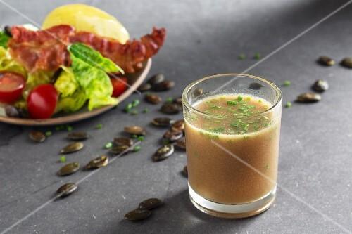 Styrian salad dressing made from honey, pumpkin seed oil and Dijon mustard