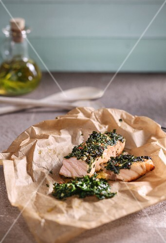 Oven-baked salmon with a Moroccan chermoula crust