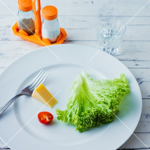 Lettuce leaves a piece of cheese and a halved cherry tomato on a plate