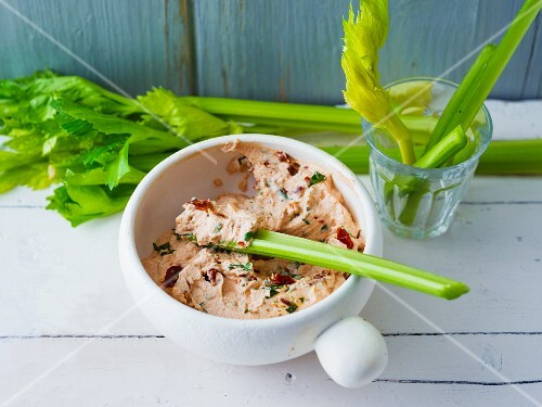 Tomato and basil dip with celery
