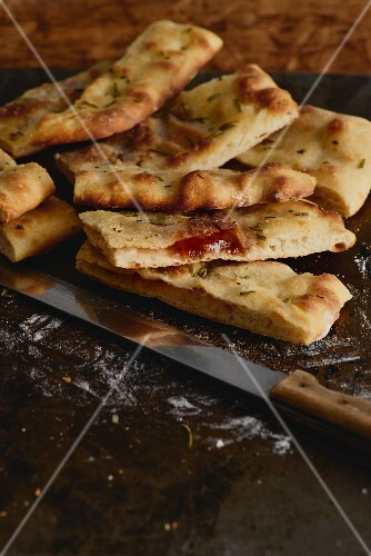 Pizza bianca with fig jam, rosemary and sea salt