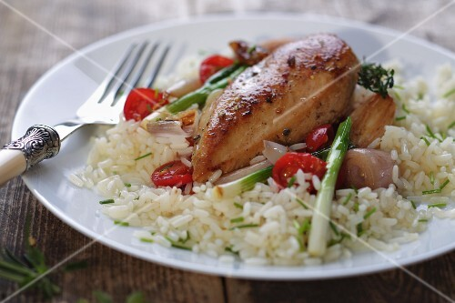 Chicken breast with onions and tomatoes on a bed of rice