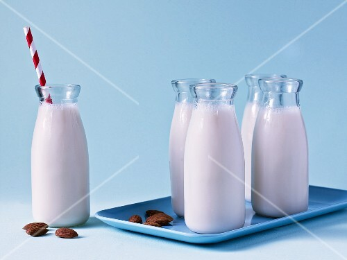 Bottles of almond milk