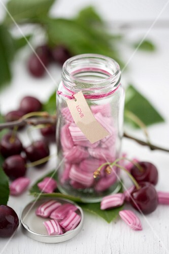 A jar of cherry bonbons