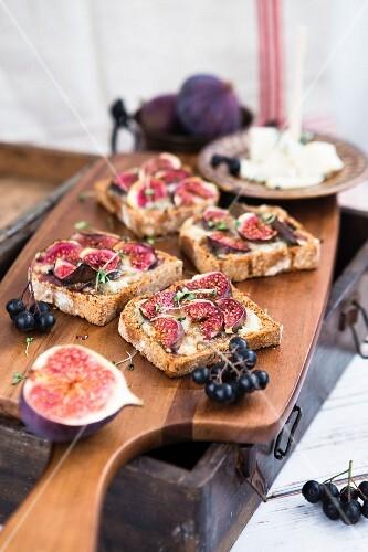 Gorgonzolasandwich mit blauen Feigen und Trauben auf einem Holzschneidebrett