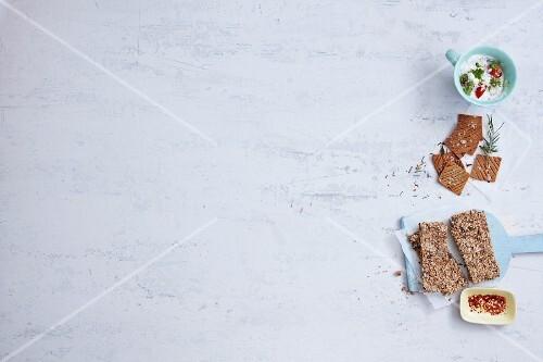 Crisp breads and herb quark