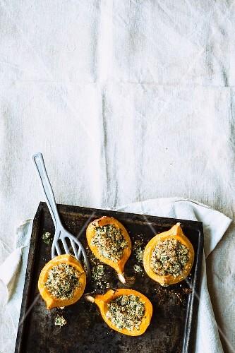 Baked pumpkin with a hemp crust