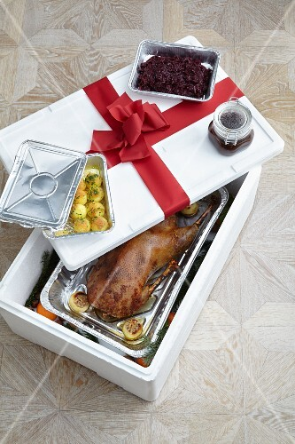 Roast Christmas goose with sides as a takeaway