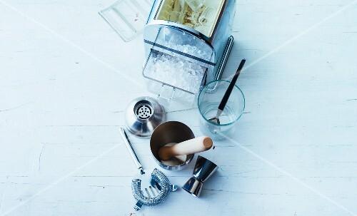 Various bar utensils