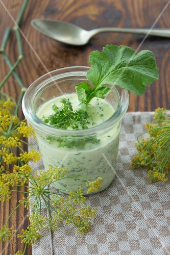 A glass of radish leaf and cress soup