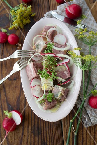 Diced ham in aspic with onions rings, radishes and cress