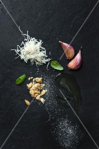 Pesto ingredients; basil, grated Parmesan, pine nuts, garlic, olive oil and salt