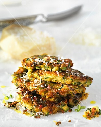 A stack of courgette cakes with Parmesan cheese