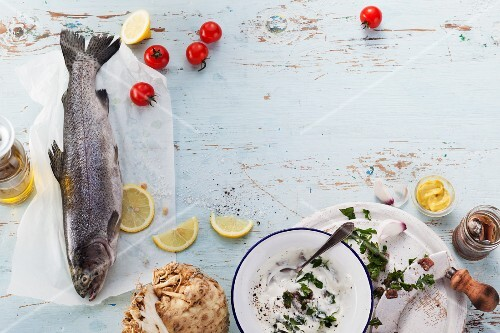 ingredients for a trout dish