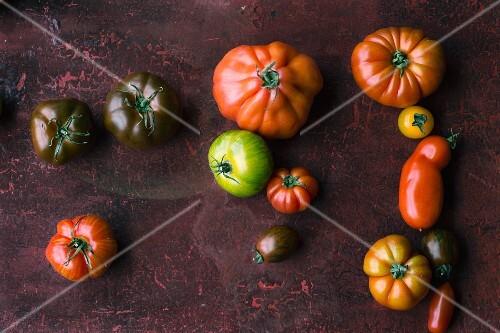 Various varieties of tomatoes