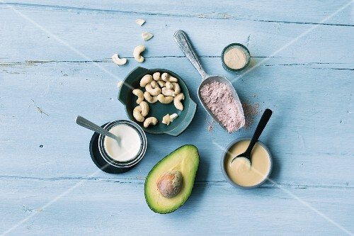ingredients for vegan cuisine: cashew nuts, soya yoghurt, avocado, agar-agar, kala namak and almond mousse