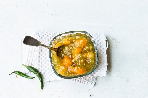 Green tomato chutney with dried apricots