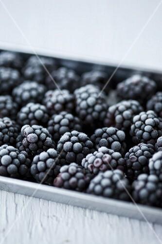 Frozen berries in an ice cream container
