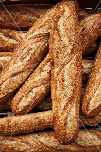 Various baguettes in a bakery