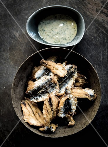 Hamsi (fried sardines with an anchovy dip from Turkey)