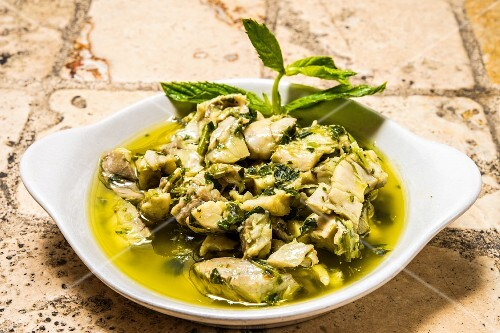 Feslegenli Mezgit (whiting with a basil dressing from Turkey)