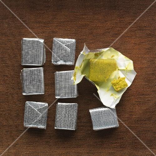 Vegan stock cubes on a brown cloth