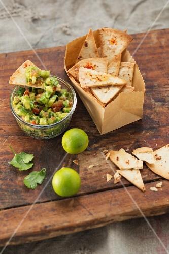 Tortilla crisps with guacamole