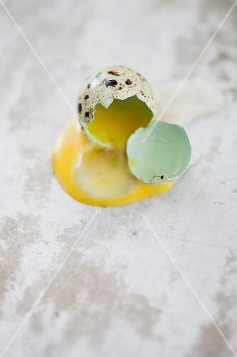 A cracked open quails' egg