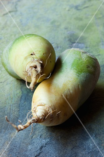 Two green radishes